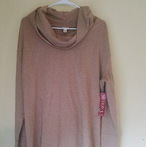 NWT tan XXL cowl neck plus sweater tunic Merona
